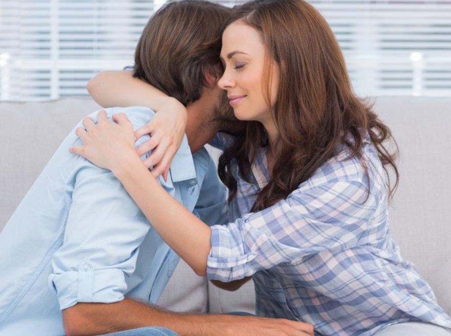 woman hugging the man